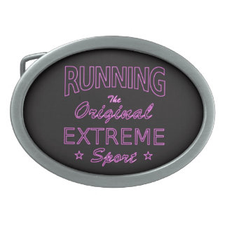 RUNNING, the original extreme sport (pink neon) Oval Belt Buckle