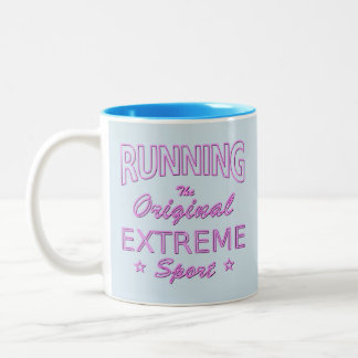 RUNNING, the original extreme sport (pink neon) Two-Tone Coffee Mug