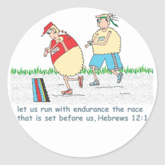 Running the race for Jesus Stickers