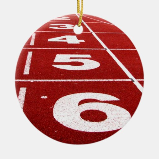 Running track christmas tree ornament