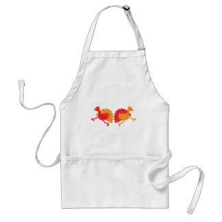 Running turkies (distressed rough version) adult apron