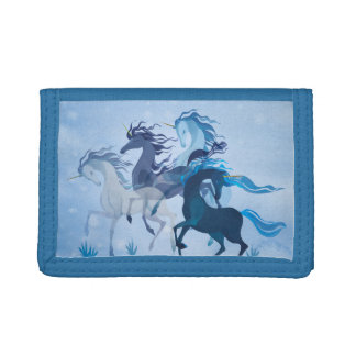 Running Unicorns, blue and magic! Tri-fold Wallet