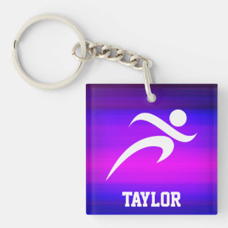 Running; Vibrant Violet Blue and Magenta Double-Sided Square Acrylic Keychain
