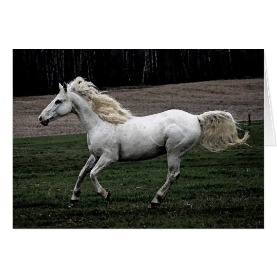 Running White Horse Card