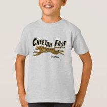 Running Wild Cheetah-Add a Name Kids Gift T-Shirt