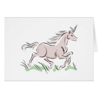 running wild pink unicorn greeting card
