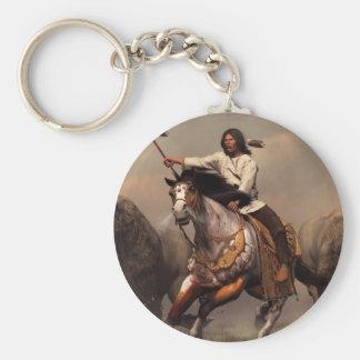 Running With Buffalo Basic Round Button Keychain