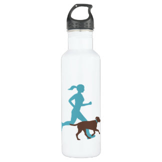 running with dog (choc/teal) water bottle