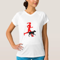 Running with dog (red/blk) T-Shirt