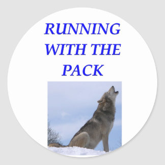 running with the pack round sticker
