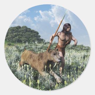 running with the tiger round sticker