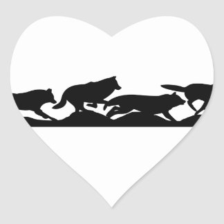 Running with wolves heart sticker