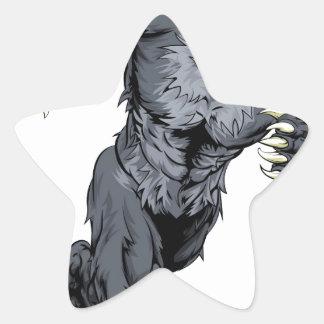 Running wolf mascot star sticker