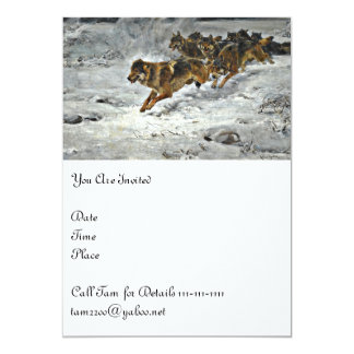 Running Wolf Pack 5x7 Paper Invitation Card