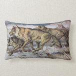 Running Wolves Vintage Illustration Pillow