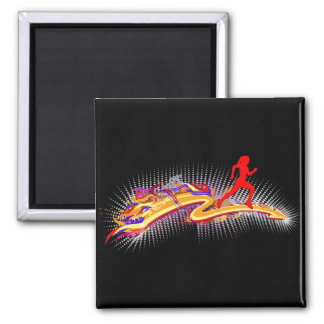 Running Woman Colorful Magnet