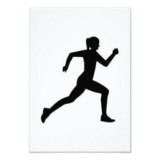 "Running woman girl 3.5"" x 5"" invitation card"