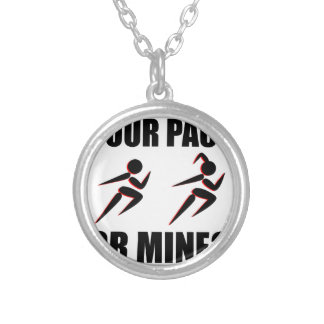 Running Your Pace Or Mine Round Pendant Necklace