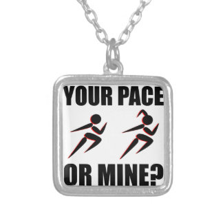 Running Your Pace Or Mine Square Pendant Necklace