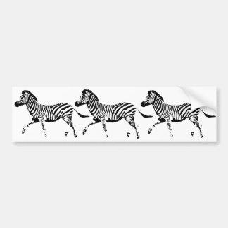 Running Zebra Car Bumper Sticker