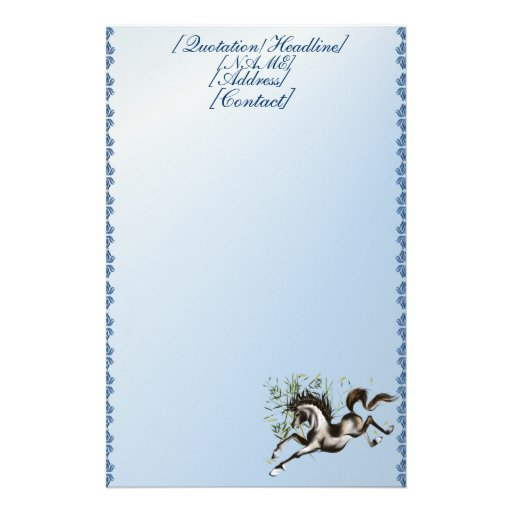 Runnung Horse stationery_vertical.v2., [Quotati... Customized Stationery