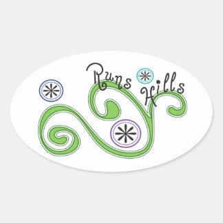 Runs Hills Oval Sticker