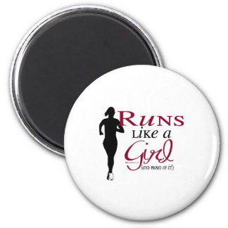 Runs Like a Girl 2 Inch Round Magnet