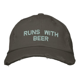 Runs with Beer! Drinking Hat for the party guy