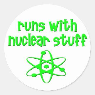 Runs With Nuclear Stuff Round Sticker