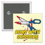 Runs with Scissors 2 Inch Square Button