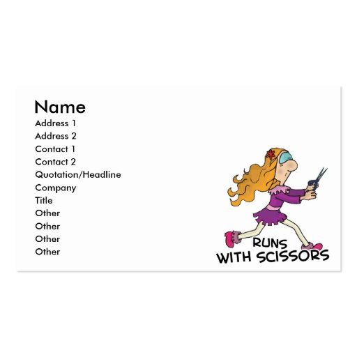 runs with scissors girl business card templates