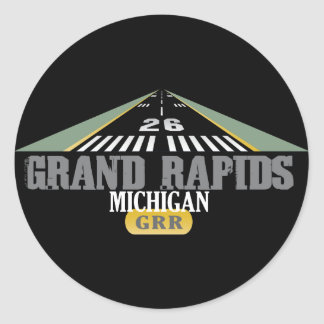 Runway 26 - Grand Rapids Michigan GRR Classic Round Sticker