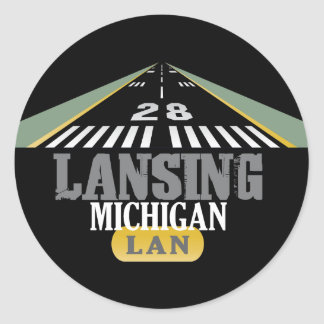 Runway 28 - Lansing Michigan LAN Classic Round Sticker