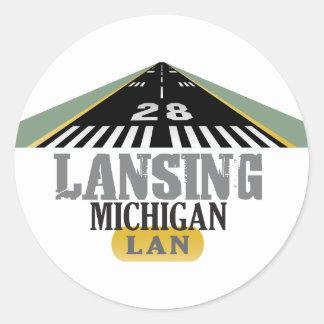 Runway 28 - Lansing Michigan LAN Classic Round Sticker