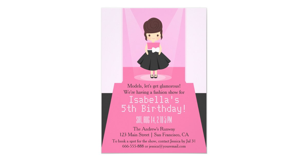 Runway Fashion Show Birthday Party Invitations | Zazzle.com
