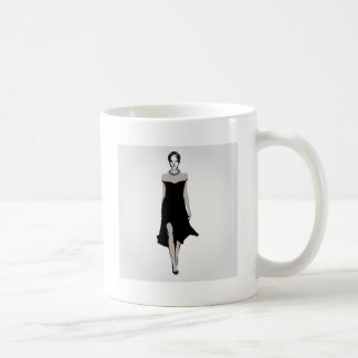 Runway model in designer outfit coffee mug