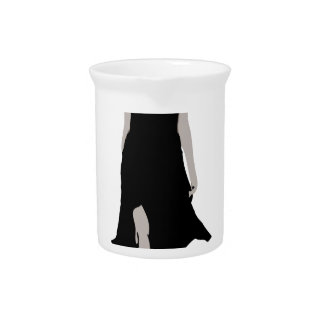 Runway model in designer outfit drink pitcher