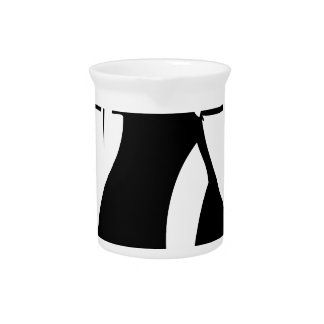 Runway model in fashionable gown beverage pitcher
