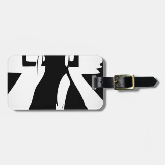 Runway model in fashionable gown luggage tag