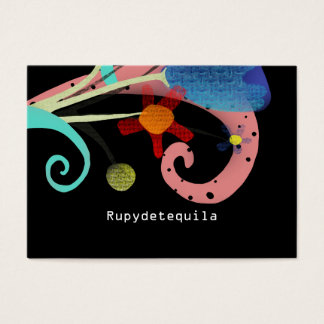 Rupydetequila Cute Flora Black Business Card