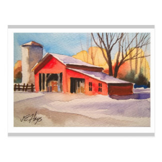 Rural America Early Winter Barn Postcard