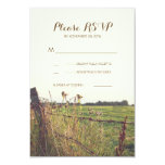 Rural barbed wire fence wedding RSVP cards