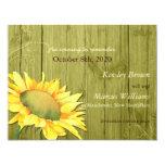 Rural Barnwood Sunflower Olive Green Save the Date Custom Invitations