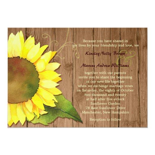 Rural Barnwood Watercolor Sunflower Wedding Card