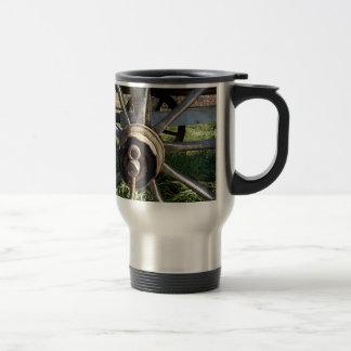 rural cart wheel travel mug