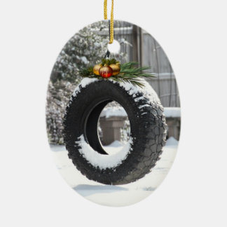 Rural Christmas Double-Sided Oval Ceramic Christmas Ornament