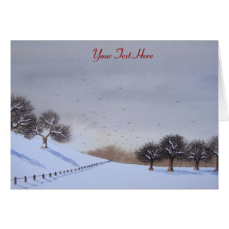 Rural christmas snow scene landscape art card