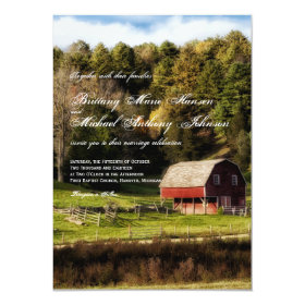Rural Country Barn Trees Rustic Wedding Invitation 4.5