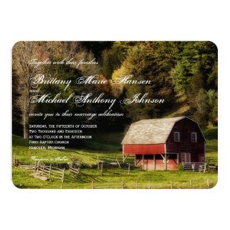 Rural Country Barn Trees Rustic Wedding Invitation