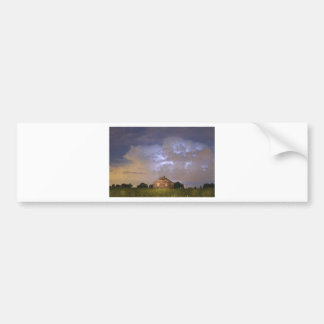 Rural Country Cabin Lightning Storm Bumper Sticker